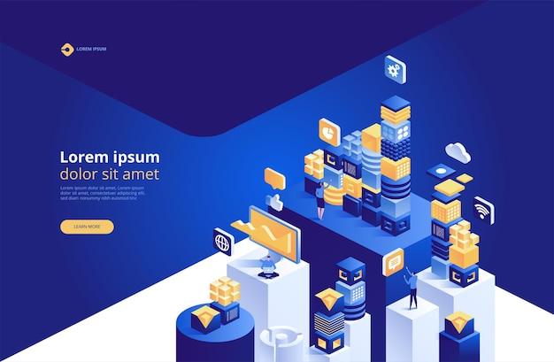 Concept de blockchain. connexion de blocs ou cubes numériques isométriques