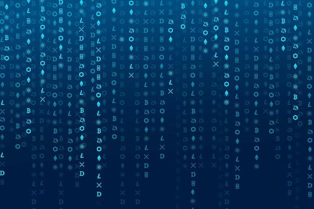 Concept de blockchain open-source de vecteur de fond numérique de codage de crypto-monnaie