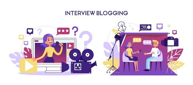 Concept de blog d'entrevue. un journaliste prend une interview