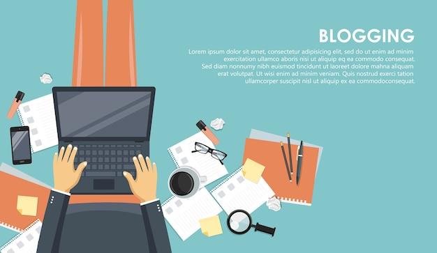 Concept de blogging et de journalisme. écrivez votre histoire