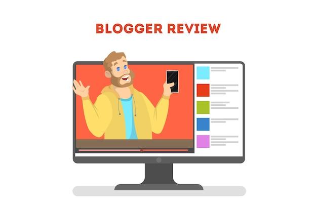 Concept de blogueur vidéo. célébrité internet dans le réseau social