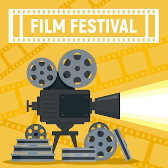 Concept de bobine de caméra de festival de film, style plat