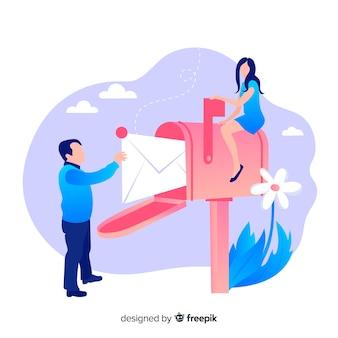 Concept de boîte aux lettres avec couple et fleur