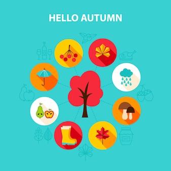 Concept bonjour automne. illustration vectorielle de l'automne. infographie saisonnière.