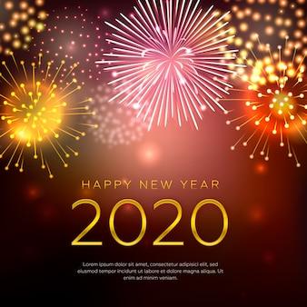 Concept de bonne année avec feux d'artifice