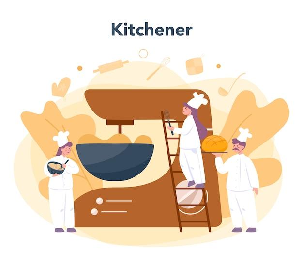 Concept de boulangerie et boulangerie. chef dans le pain de cuisson uniforme. processus de pâtisserie. illustration vectorielle isolé en style cartoon