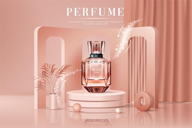 Concept de bouteille de parfum réaliste 3d