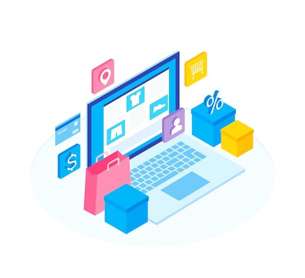 Concept de boutique en ligne. configurez la boutique en ligne de fonctions.
