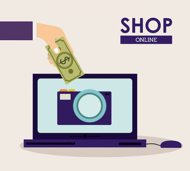 Concept de boutique en ligne. main acheter un appareil photo avec de l'argent