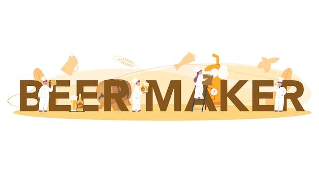 Concept de brasseur ou de bière concept d'en-tête typographique. production de bière artisanale, processus de brassage. réservoir de bière pression, tasse vintage et bouteille pleine de boisson alcoolisée. illustration vectorielle isolé