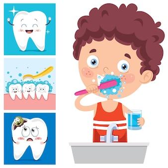 Concept de brossage des dents avec personnage de dessin animé