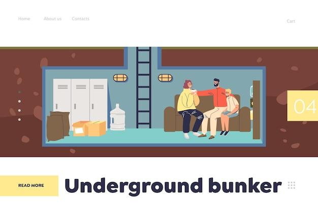 Concept de bunker souterrain de page de destination avec la famille se cachant dans une pièce d'abri protecteur. maman, papa et fils ensemble dans un bunker de survie sécurisé avec des provisions de nourriture. illustration vectorielle plane de dessin animé