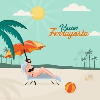 Concept de buon ferragosto avec une jeune femme moderne s'asseoir sur la vue sur la plage côté transat.