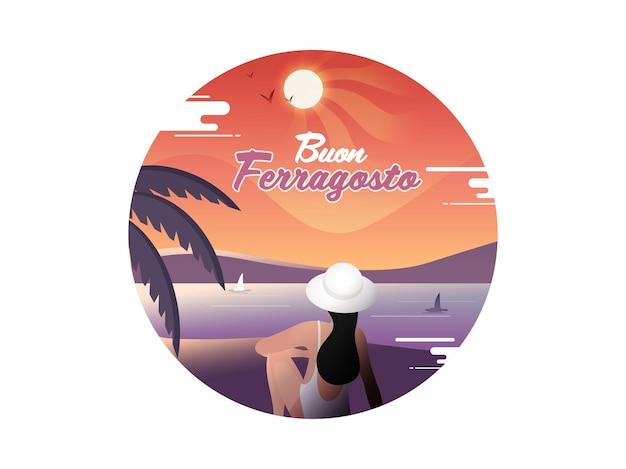 Concept de buon ferragosto avec vue arrière d'une jeune femme moderne assise sur le côté de la plage.