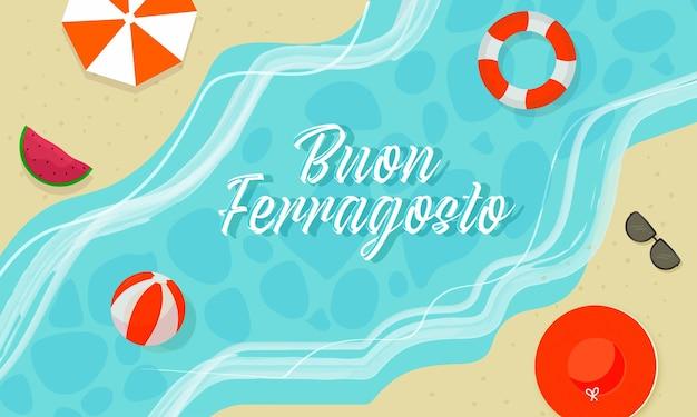 Concept de buon ferragosto avec vue de dessus de fond de plage d'été.