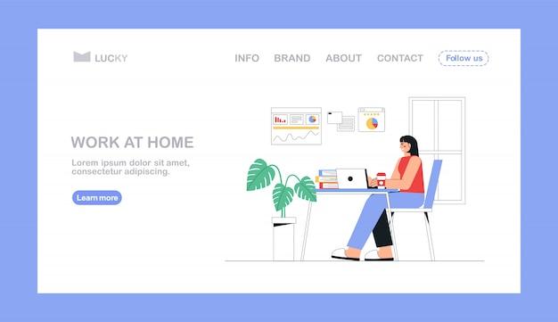 Concept de bureau à domicile, femme travaillant, assis avec un ordinateur portable à la maison.