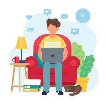 Concept de bureau à domicile, homme travaillant à domicile assis sur une chaise, étudiant ou pigiste.