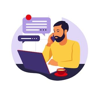 Concept de bureau à domicile, homme travaillant à domicile. concept indépendant ou étudiant. illustration vectorielle. style plat.