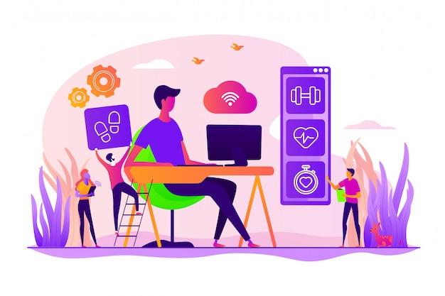 Concept de bureaux iot axés sur la santé.