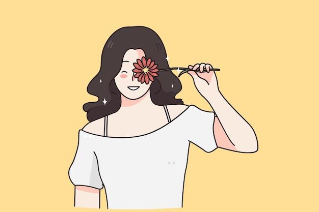 Concept de cadeau de fleurs de la journée internationale de la femme