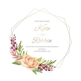 Concept de cadre floral de mariage élégant