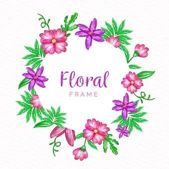Concept de cadre floral printemps aquarelle