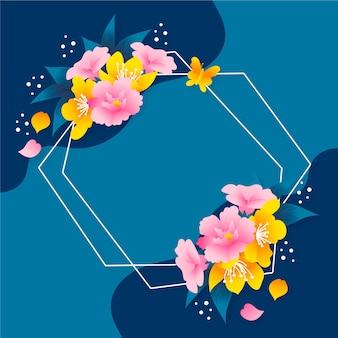 Concept de cadre floral printemps dessiné à la main