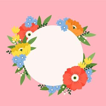 Concept de cadre floral printemps plat coloré