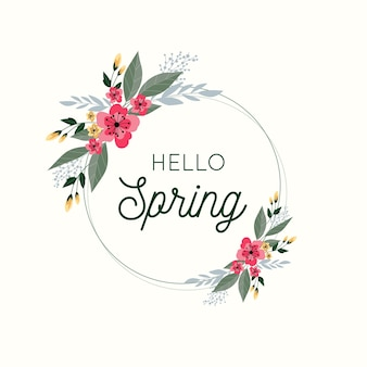 Concept de cadre floral printemps plat
