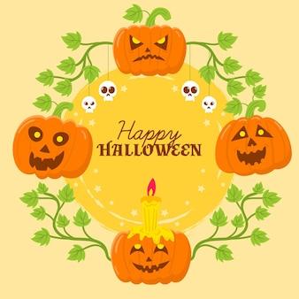 Concept de cadre halloween dessiné à la main
