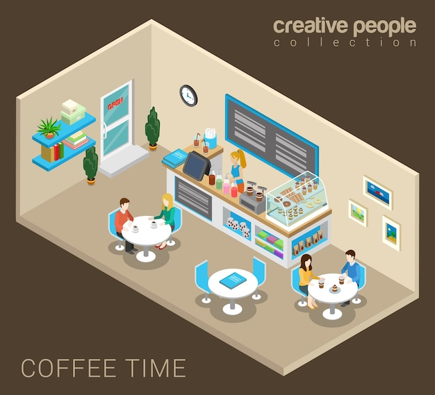 Concept de café abstrait de temps de café