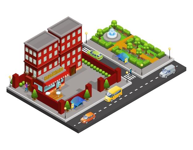 Concept de café de rue isométrique