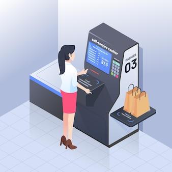 Concept de caissier libre-service isométrique