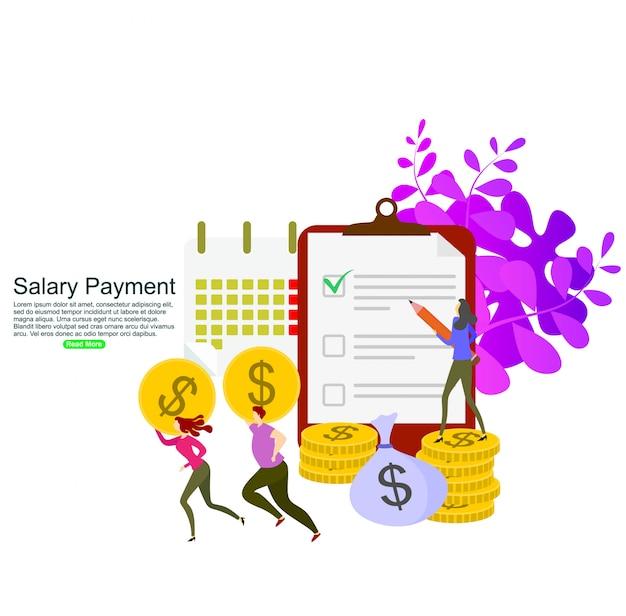 Concept de calcul de paiement de salaire. modèle de fond