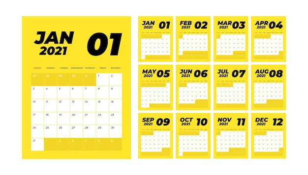 Concept de calendrier annuel