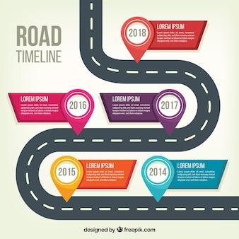 Concept de calendrier de création d'entreprise avec la route