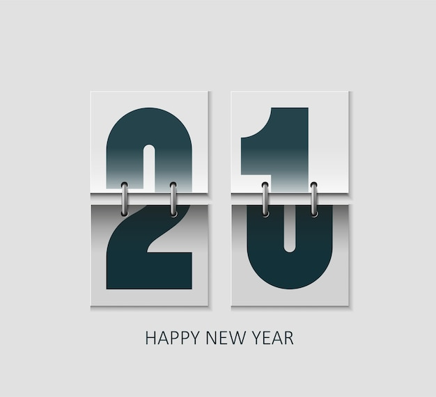 Concept de calendrier flip réaliste bonne année 2021.