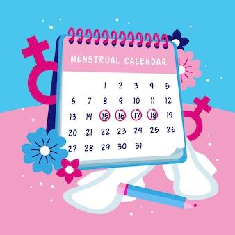 Concept de calendrier menstruel créatif illustré