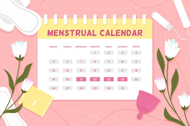 Concept de calendrier menstruel avec des fleurs