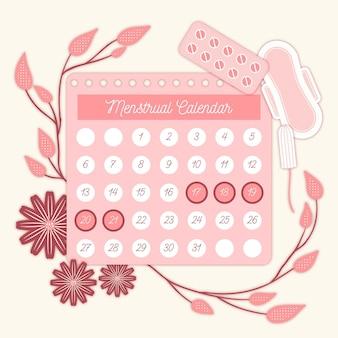 Concept de calendrier menstruel illustré