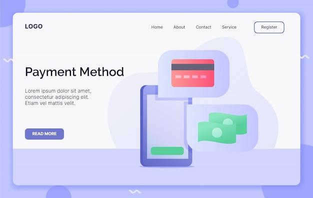 Concept de campagne de méthode de paiement pour l'atterrissage de modèle de site web ou le site web de la page d'accueil. style de dessin animé plat moderne.