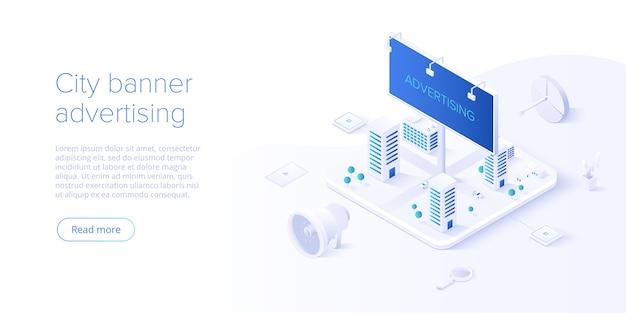 Concept de campagne de publicité extérieure dans la page de destination isométrique