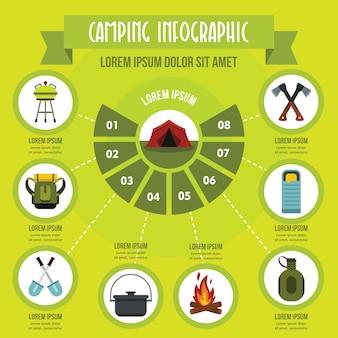 Concept de camping infographique, style plat