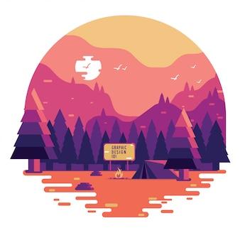 Concept de camping plat