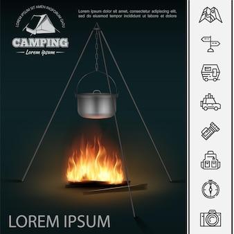 Concept de camping réaliste avec casserole sur feu de camp et icônes linéaires de loisirs de plein air