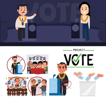 Concept de candidat à l'élection. discours de débat