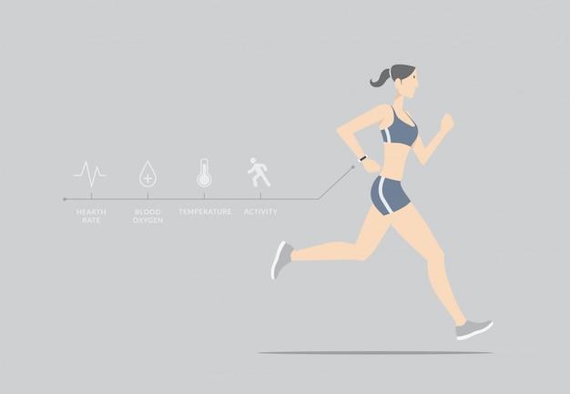 Concept de capteur de fitness. fille qui court avec appareil portable.