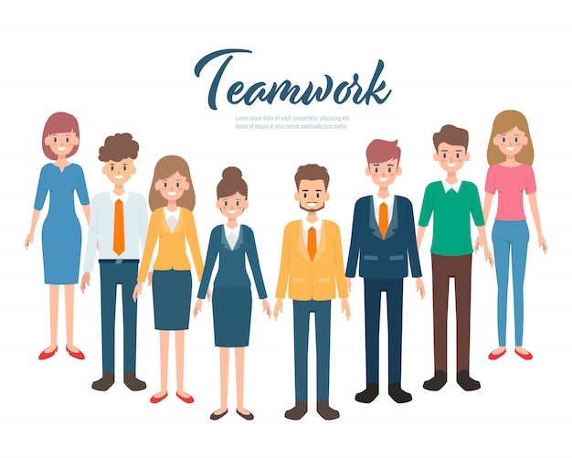 Concept de caractère de travail d'équipe des gens d'affaires.