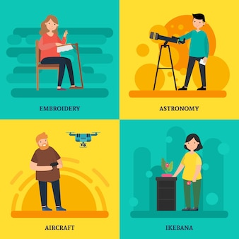 Concept carré de cours universitaires colorés