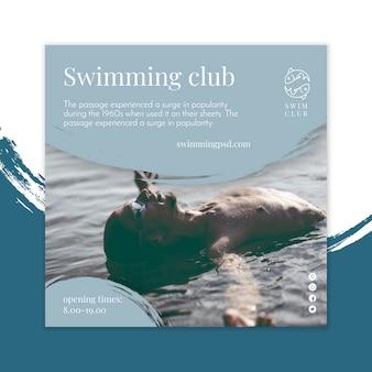 Concept carré de flyer de natation